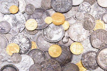 Old gold and silver coins background