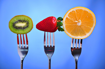 Fruits in fork