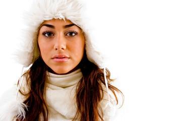 portrait of woman with woolen cap