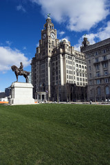 Liver Building and Edward VII statue, Liverpool, England, UK