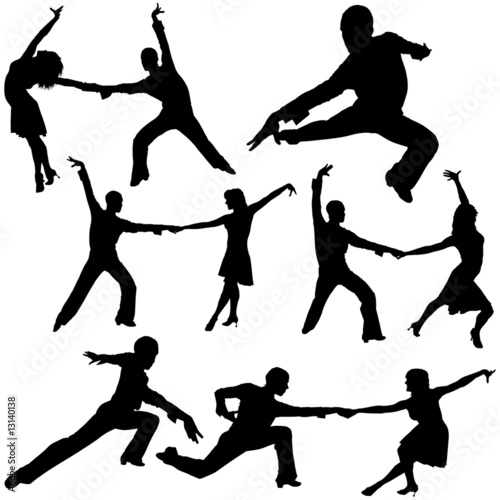 Latino Dance Silhouettes 03 - detailed illustrations