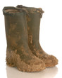 muddy rubber boots isolated on a white background..