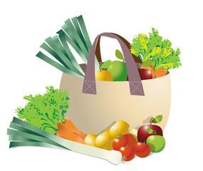 Panier de légumes et fruits