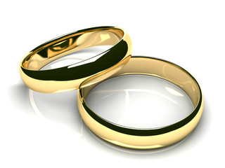 Two gold wedding rings on white glossy background (3D render)