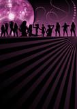 Rosa und Lila Flyer mit tanzenden Frauen / Girls poster