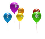 multicolored balloons with euro symbols - isolated on white