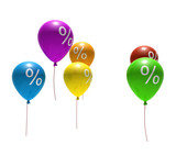 multicolored balloons with percent symbols - isolated on white