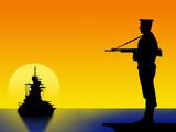 marinaio al tramonto poster