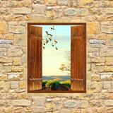 Fototapeta Stare drwniane okno w ceglanym murze