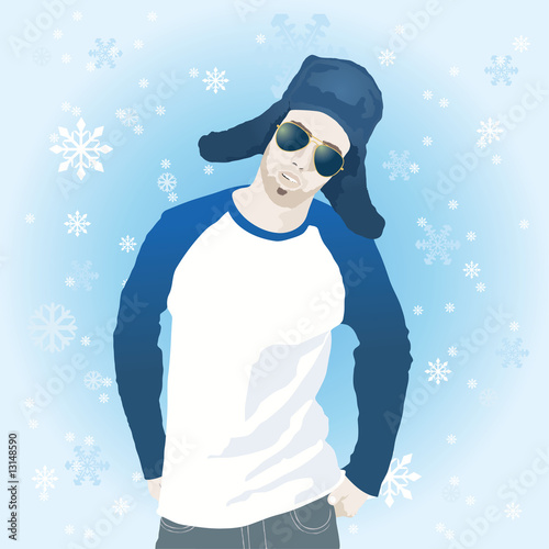 Illustration of young man in winter clothes with snowflakes