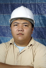 Serious asian engineer portrait