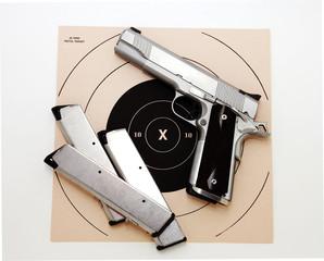 Semi Auto pistol and target