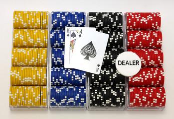 Racks of poker chips