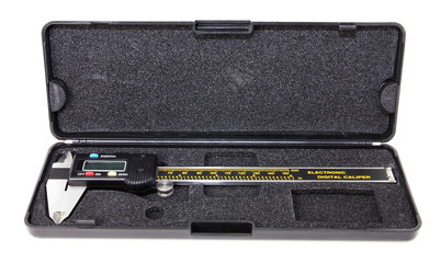 Digital caliper in protective case