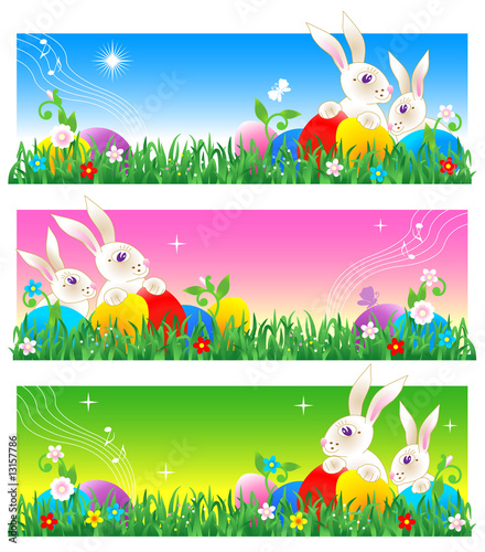 Easter banners with bunnies and eggs, or poster background