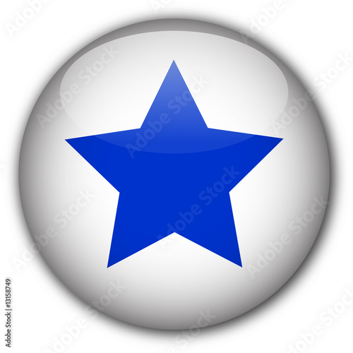 Glassy button with star (white/blue)
