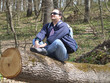 sitting on a log