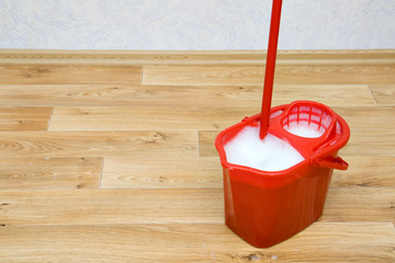 A red mop in a bucket