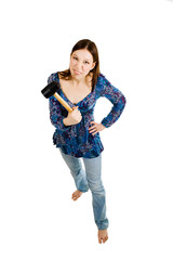 Aggressive woman holding hammer