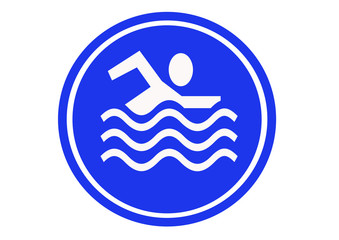 blue swimming sign
