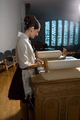 Jewish Girl at Bima for Bat Mitzvah