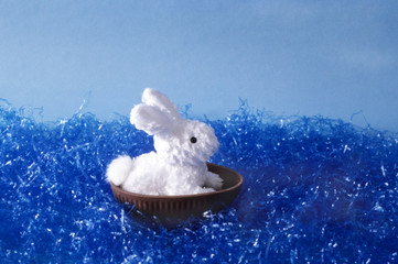 Fluffy white toy bunny floating at sea.