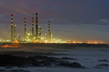 Oil refinery by night