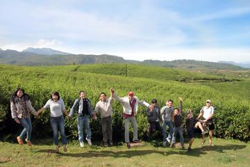 happy people at tea farming