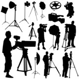 cameraman and film objects vector poster