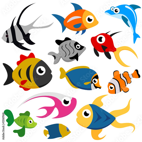cartoon fish. cartoon fish set vector