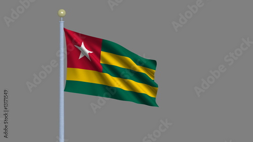 Flag of Togo with alpha matte for easy isolation