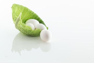 Eier auf gruenem Blatt auf weissem Acryl