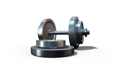 isolated dumbbell on white background - 3d render