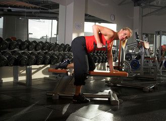 a female bodybuilder working out