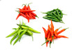Variety of colorful hot chilies
