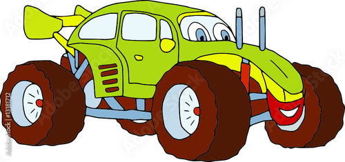 Foto op Canvas Cartoon cars vector - monster car isolated on background