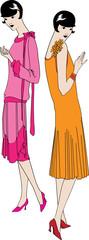 Two fashionable girls of the beginning of the twentieth century