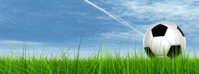 3D black soccer ball,green grass, blue sky with plane trails