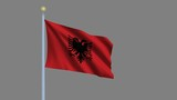 Flag of Albania with alpha matte for easy isolation poster
