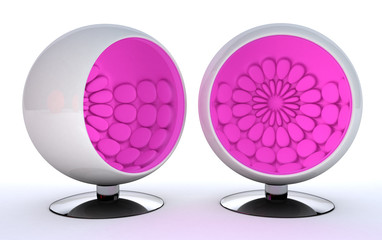 white sphere chair