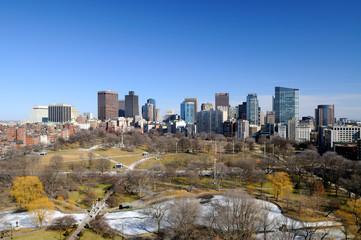 Boston Public Garden and cityscape
