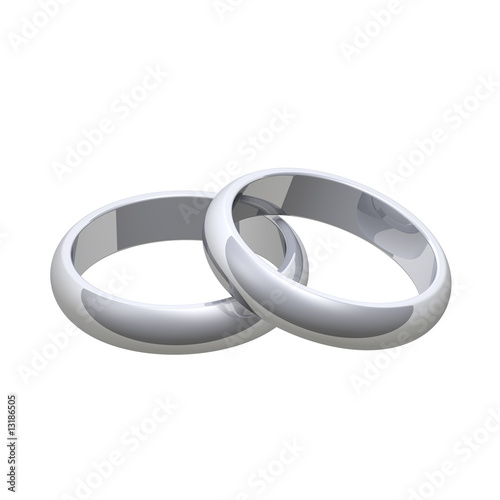 Two silver wedding rings isolated on white