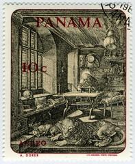 Panama, Saint Jérome. Durer. Timbre Postal Aero.