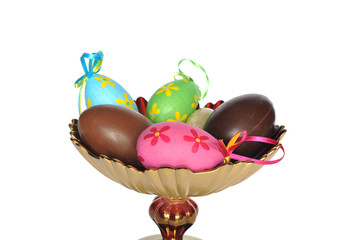 Tray table with chocolate and ornamental Easter eggs on white