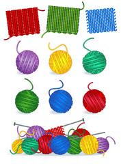 Knitting - yarn, needles, samples, work in progress