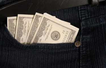 dollars in pocket jeans