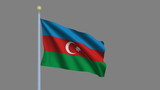 Flag of Azerbaijan with alpha matte for easy isolation poster