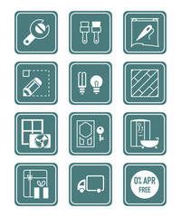 Home repair, redecoration and shop services icon-set