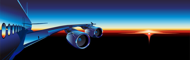 Vector passenger aircraft  at sunrise