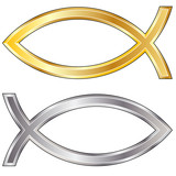 Gold and silver Christian Jesus fish icon